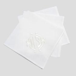 Mouchoir(s) Blanc avec initiales brodées