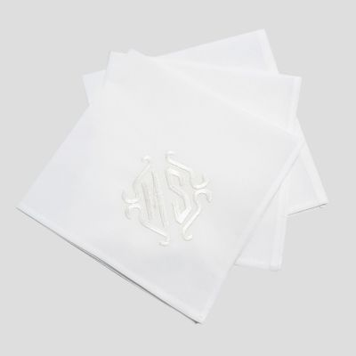 3 Handkerchiefs 40cm in organic cotton batiste woven in France