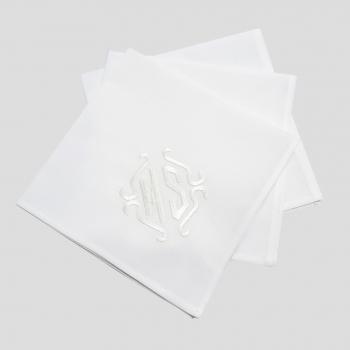 3 Handkerchiefs 40cm in organic cotton batiste woven in France