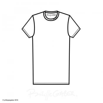T-shirt bio Bleu chiné 3 plis col fabriqué en France