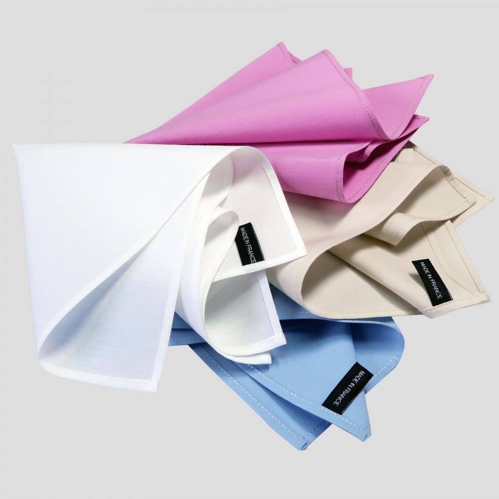 3 Handkerchiefs  40*40cm in organic cotton batiste woven in France