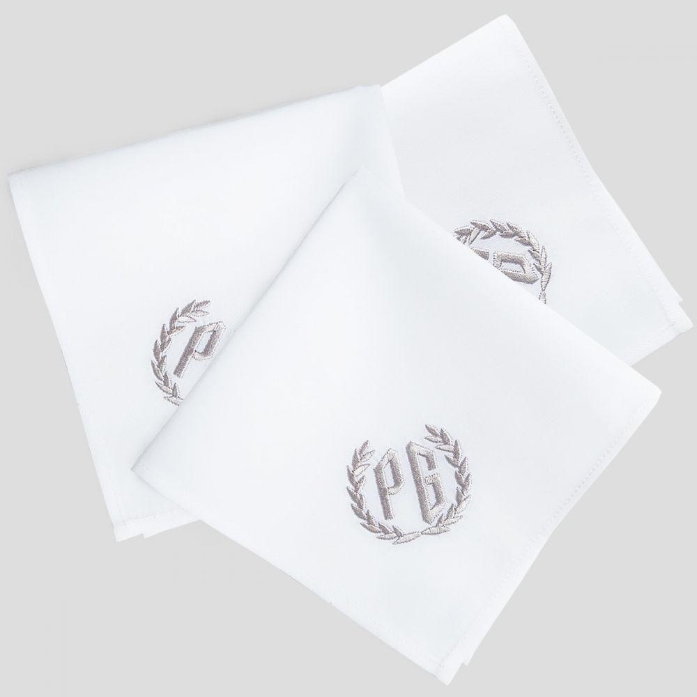 3 Mouchoirs luxe et bio personnalisé avec initiales brodées mouchoir made in France PhilippeGaber