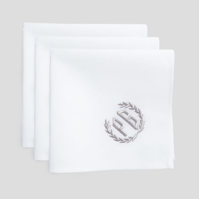 Set of 3 organic personalised handkerchiefs made in Paris France by Philippe Gaber