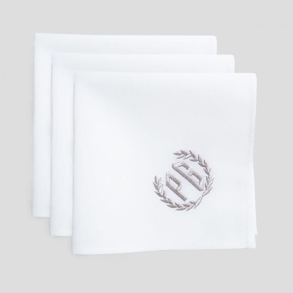 lot de 3 Mouchoirs français bio personnalisés avec vos initiales brodées Mouchoirs luxe made in France