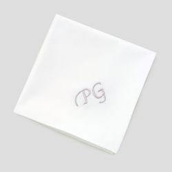 Lot de 3 Mouchoirs français coton bio avec vos initiales brodées Style Chancellerie PhilippeGaber mouchoirs luxe made in France