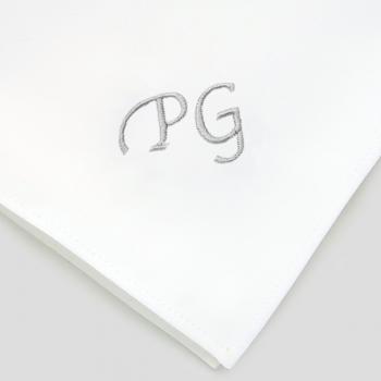 Mouchoir français coton biologique personnalisés avec initiales Style Chancellerie fabriqués brodés à Paris par PhilippeGaber