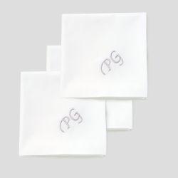 Lot de 3 Mouchoirs français coton bio avec vos initiales brodées Style Chancellerie PhilippeGaber mouchoirs luxe made in France  ©philippegaber