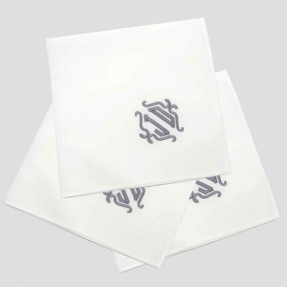 Mouchoirs avec initiales brodées mouchoir bio et français mouchoir luxe cadeau personnalisés made in France PhilippeGaber