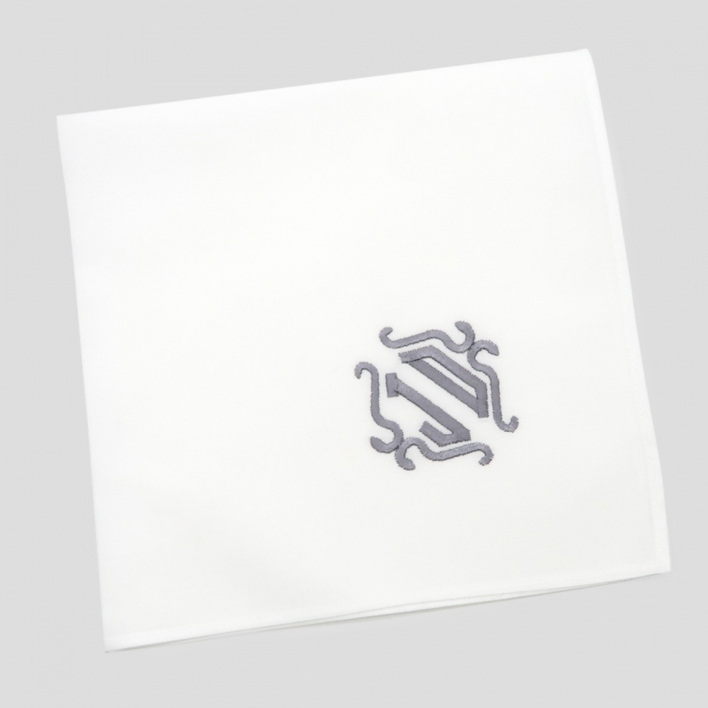 A personalized organic French handkerchief with your embroidered initials A handkerchief organic made in France with 5mm rolled