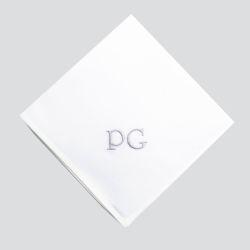 Mouchoirs en coton bio français certifiés gots personnalisés fabriqués et brodés style Poiret à Paris par PhilippeGaber