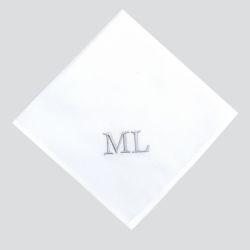 Mouchoirs coton bio personnalisés par Philippe Gaber à Paris avec initiales brodées Times Mouchoirs Made in France