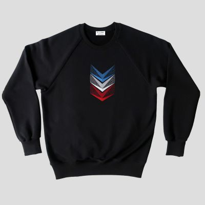 Organic sweatshirt with embroidered tricolour braids made in Paris by PhilippeGaber
