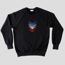Sweatshirt bio broderie tricolore fabriqué à Paris par Philippe Gaber, un sweat-shirt Bio et Made in France