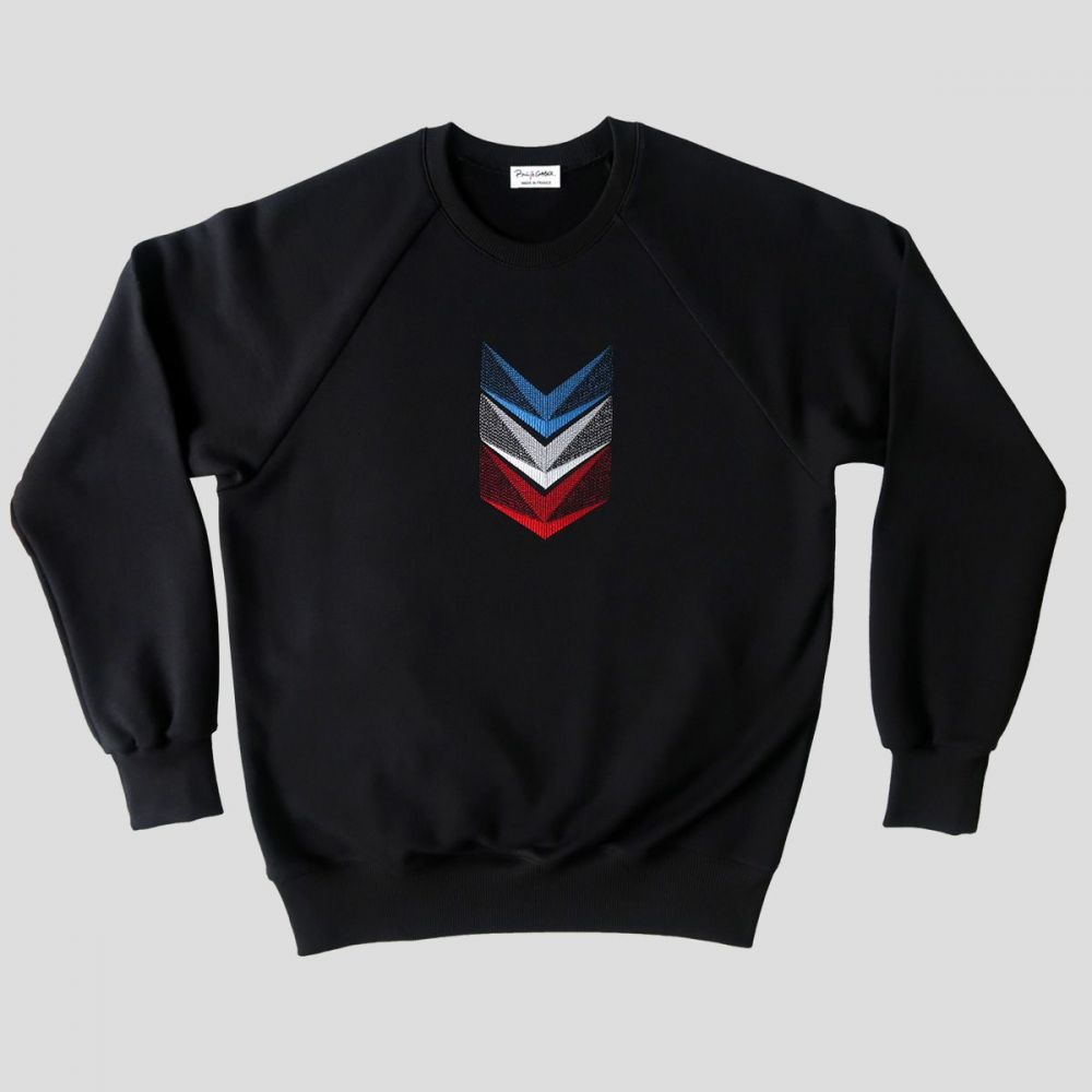 Tricolor embroidered organic sweatshirt MADE IN FRANCE sweatshirt made in Paris by PhilippeGaber ©philippegaber