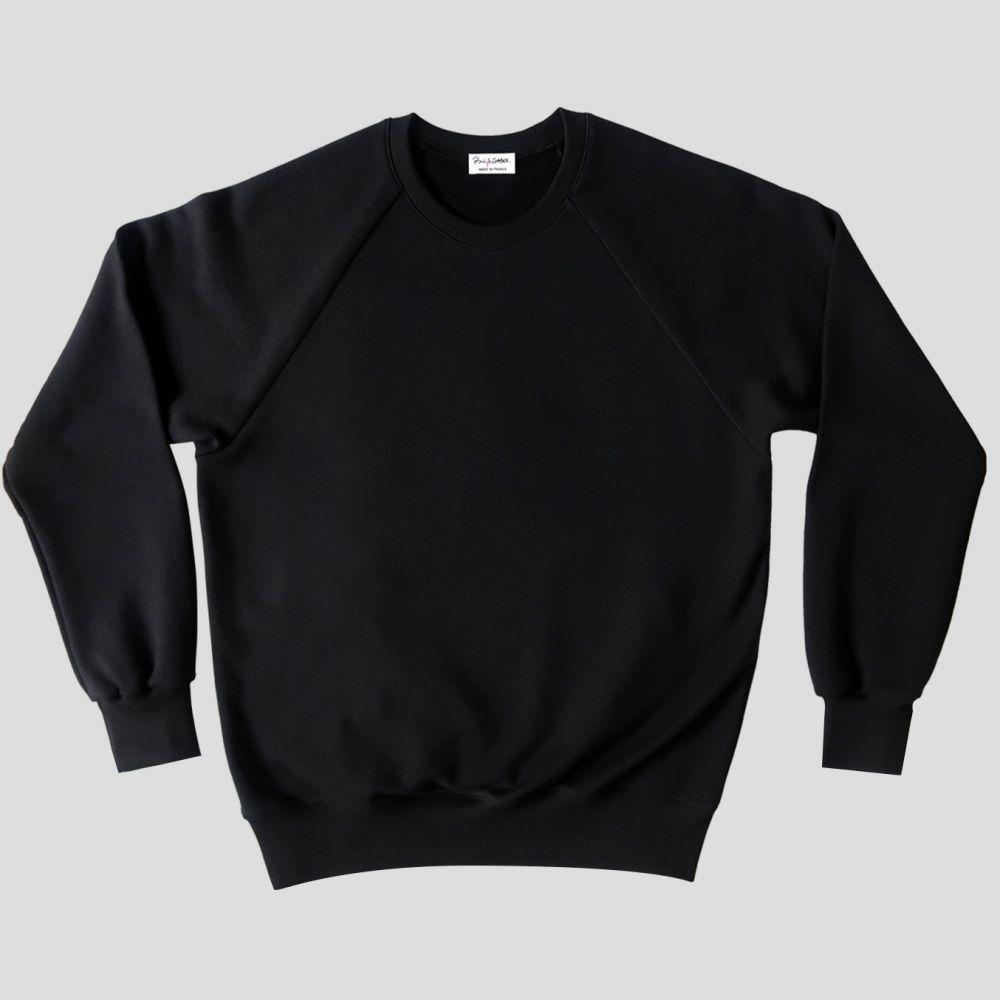 Sweatshirt bio noir à manches raglan et Made in France PhilippeGaber sweat-shirt bio pour homme et femme fabriqué à Paris ©philippegaber