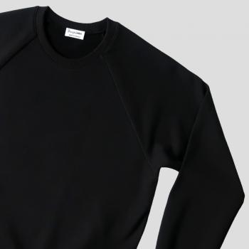 Sweatshirt bio noir à manches raglan et Made in France PhilippeGaber sweat-shirt bio pour homme et femme fabriqué à Paris