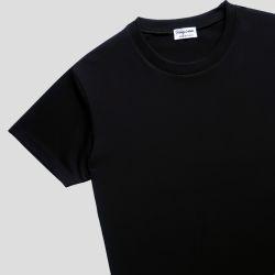 T-shirt bio noir Made in France homme & femme fabriqué et brodé par Philippe Gaber à Paris T-shirt bio éthique