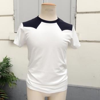 T-shirt Made in France et bio  t-shirt en coton bio bicolore avec empiècement noir tshirt fabriqué à Paris par PhilippeGaber