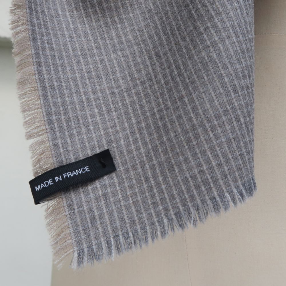 Wool and cashmere scarf gray sand scraves for men and women made in France by PhilippeGaber