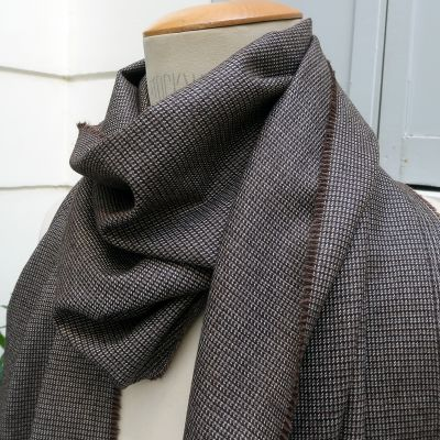 Ice brown Wool & silk scarf Made in France by PhilippeGaber, Men's and women's scarf made in Paris France