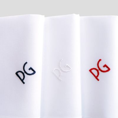Organic Handkerchiefs Made in France embroidered with your initials in Blue, White & Red Made In Paris by PhilippeGaber ©philippegaber