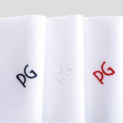Mouchoirs coton bio Made in France personnalisés & brodés avec vos initiales en bleu blanc rouge PhilippeGaber