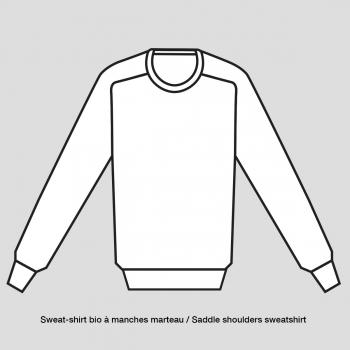 Sweat-shirt bio coupe manches marteau homme femme fabriqué avec éthique à Paris par Philippe Gaber sweat-shirt bio Made in Franc