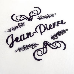 Mouchoirs en coton bio français certifiés gots personnalisés style Jean-Pierre fabriqués et brodés à Paris par PhilippeGaber ©philippegaber