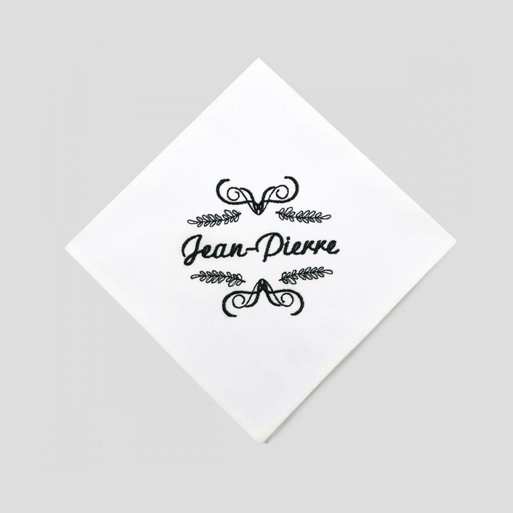 Mouchoirs en coton bio français certifiés gots personnalisés style Jean-Pierre fabriqués et brodés à Paris par PhilippeGaber