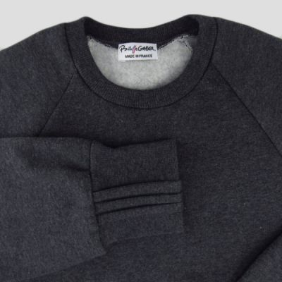 Organic heater black sweatshirt made in France