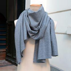 Echarpe gris pavé parisien en Pure laine Vierge Merinos PhilippeGaber écharpe luxe homme et femme