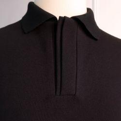Polo piqué noir coton bio made in France fabriqué à Paris par PhilippeGaber ©philippegaber