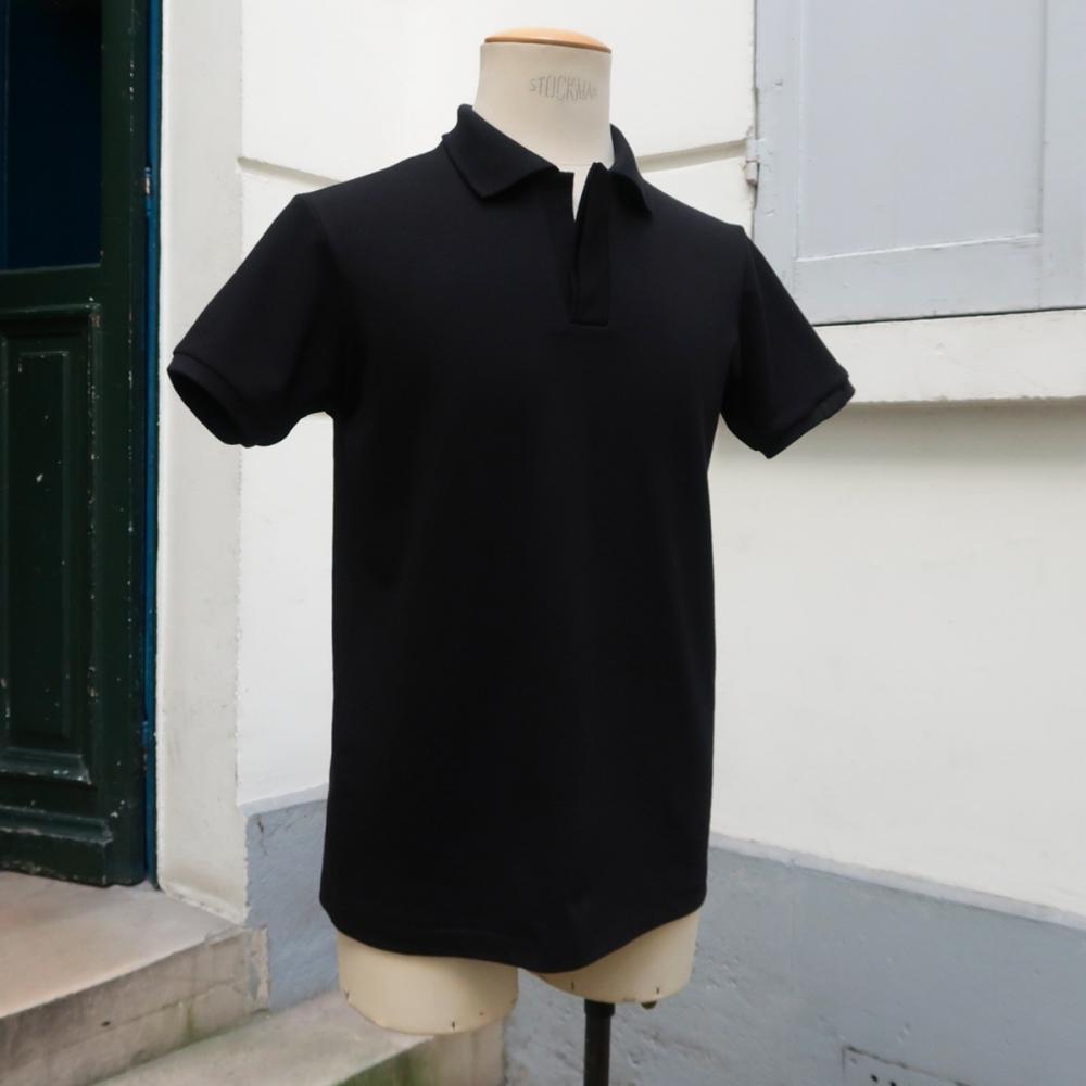 Polo piqué noir coton bio made in France fabriqué à Paris par PhilippeGaber