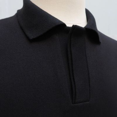 Polo piqué noir coton bio made in France fabriqué à Paris par PhilippeGaber
