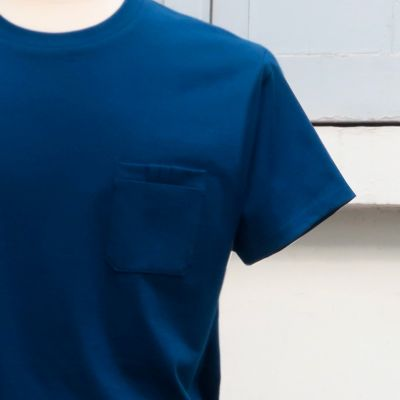 Navy Organic T-shirt with 3 folds front pocket
