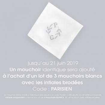 3 Mouchoirs coton bio Made in France personnalisés avec vos initiales et d'un ornement végétal mouchoirs français PhilippeGaber