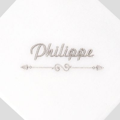 Mouchoirs en coton bio français certifiés gots personnalisés fabriqués avec prénom brodé à Paris par PhilippeGaber