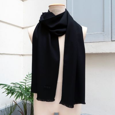 Black Bird lambswool silk & cashmere scarf made in Paris France PhilippeGaber