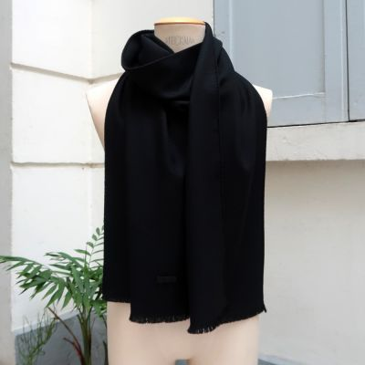 Foulard luxe Paris laine et soie anthracite made in France philippegaber