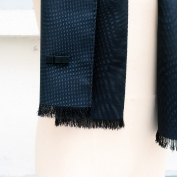 beautiful vibration of sulky blue Wool and silk Scarf made Paris France by PhilippeGaber