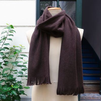 Dark brown Fleece Organic cotton Gots Scarf made in France philippeGaber