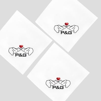 3 organic hankies made in Paris - France with Bears in ♥ + initiales embroidered by PhilippeGaber