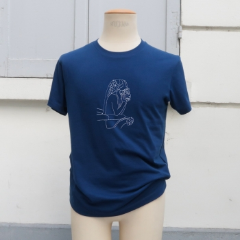 Navy Organic T-shirt with le Stryge embroidered by PhilippeGaber Organic t-shirt made in Paris France