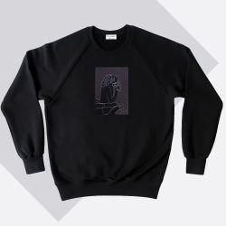 Sweat-shirt coton bio Le Stryge brodé en vibration de gris  par PhilippeGaber lauréat du label fabriqué à Paris 2019 2020 ©philippegaber