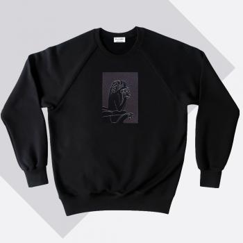 Sweat-shirt coton bio Le Stryge brodé en vibration de gris  par PhilippeGaber lauréat du label fabriqué à Paris 2019 2020