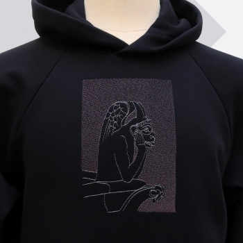 Organic hoodie with the Stryge embroidered in shades of gray - Organic hoodie Made in France by PhilippeGaber