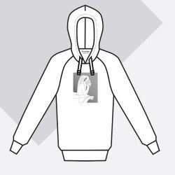 Sweat-shirt coton bio Le Stryge brodé en vibration de gris Brodé et fabriqué à Paris par PhilippeGaber hoodie Made in France ©philippegaber