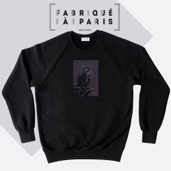 Sweat-shirt coton bio Le Stryge brodé en vibration de gris  de PhilippeGaber lauréat du label fabriqué à Paris 2019 2020