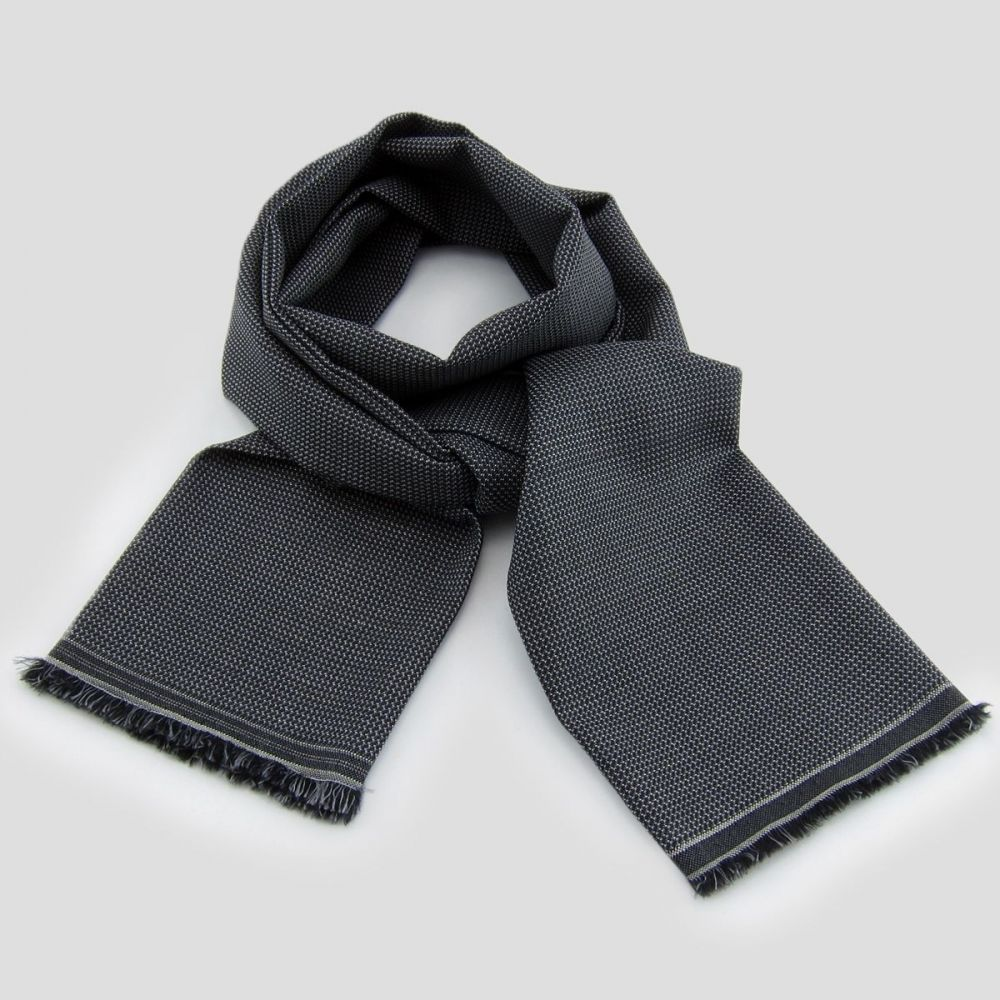Dark grey micro-fantasy Wool & Silk woven scarf for men & women made in France. Philippe Gaber woven scarves made in Paris