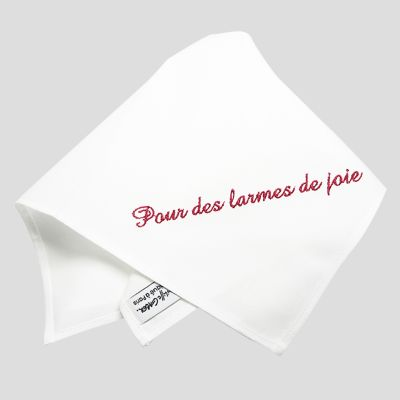 One organic handkerchief woven in France embroidered with a sentence by PhilippeGaber in Paris ©philippegaber